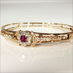 Ruby, Diamond, and Gold Bangle Bracelet, ca. 1890