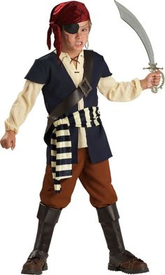 very blah, but pinned it because of the head scarf, shirt with ties, vest, boots, and strap thing across the chest. Boys Pirate Mate Costume - Party City
