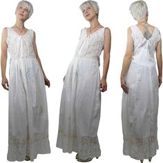 Edwardian White Cotton Slip or Chemise with Lace and Ribbons