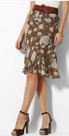 $159 RALPH LAUREN Irina Georgette Silk Floral Cocoa Multi Godet Pleats Skirt #RalphLauren #Godet