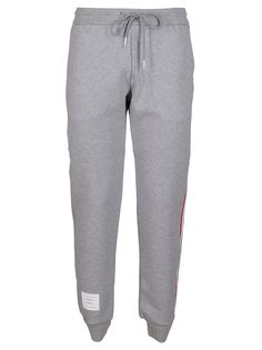 €478.0. THOM BROWNE Pant Light Grey Cotton Track Pants #thombrowne #pant #trackpant #cotton #clothing