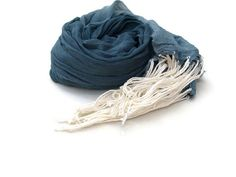 Blue Cotton Scarf Ombre Scarf Muslin Scarf Womens by Shalotte