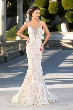 Luxurious Trumpet-Mermaid Straps Dropped Court Train Tulle Sleeveless Wedding Dress Beading Appliques LD3905