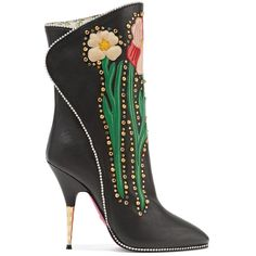Gucci Fosca appliquéd embellished textured-leather ankle boots ($2,125) ❤ liked on Polyvore featuring shoes, boots, ankle booties, western bootie, ankle cowgirl boots, ankle cowboy boots, western booties and cowgirl boots