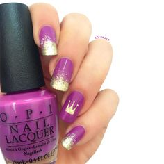 Purple & gold crown nails