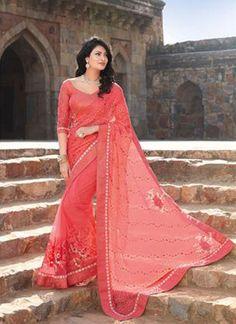 Pink Satin Lace Border Stone Work Georgette Designer Party Wear Sarees