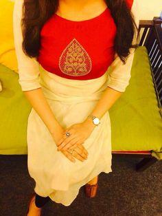 Silk handworked red yoke with cream Georgette slit straight kurti Rs 2000 Churidar Designs, Kurti Neck Designs, Blouse Designs, Salwar Pattern, Kurta Patterns, New Kurti, Latest Kurti, Ethnic Fashion, Indian Fashion
