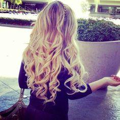 Braided Headband - Long Loose Blonde Curls