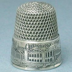 Chicago Columbian Exposition Thimble  (1893 Antique Sterling Silver Thimbles, Simons Bros, Vintage Expo)