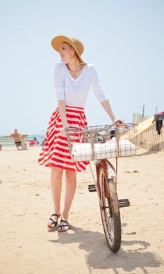 Race Point Red and White Striped Jersey Skirt