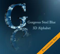 Premium Steel Blue 3D Alphabet