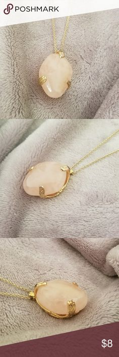 Long Ann Taylor necklace A light pink Himalayan salt-like gem with a long, thin gold chain. Comes with original chain, but can be switched out to create a new, unique piece of jewelry! Ann Taylor Jewelry Necklaces