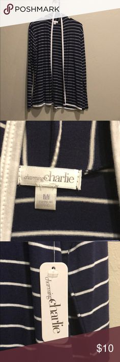 Charming Charlie striped cardigan. NWT Charming Charlie Cardigan. Jersey fabric. Navy and white striped with white trim. Brand new with tags. Size medium Tops