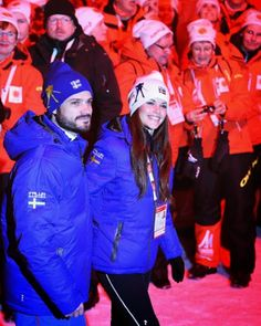 Swedish Prince Carl Philip and Sofia Hellqvist attend the Opening Ceremony of the FIS Nordic World Ski Championships at the Lugnet venue on 18.02.2015 in Falun, Sweden
