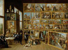 DAVID TENIERS EL JOVEN - El Archiduque Leopoldo Guillermo en su Galería de Bruselas (Kunsthistorisches Museum de Viena, 1650-52. Óleo sobre lienzo, 123 x 163 cm) - David Teniers the Younger