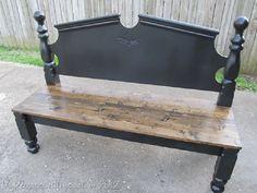 repurposed headboard bench - Diy Crafts for The Home Refurbished Furniture, Repurposed Furniture, Furniture Makeover, Painted Furniture, Old Headboard, Headboard Benches, Painted Headboard, Black Headboard, Headboard Ideas