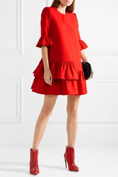 ea45afdfab8 Alexander McQueen - Ruffled wool and silk-blend mini dress. White ...