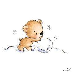 Bear Making a Snowball by Anna Abramskaya Illustration Mignonne, Illustration Noel, Christmas Illustration, Illustrations, Christmas Doodles, Diy Christmas Cards, Christmas Art, Christmas Decorations, Xmas Drawing