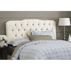 Skyline Furniture Tufted Arch Headboard in Parchment