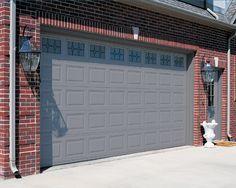 Dark red brick homes red brick with dark gray trim for Honest garage door service