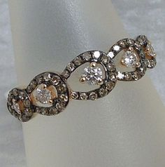 White and Chocolate Diamond Band set in Rose Gold, $900.