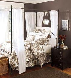 bedrooms - Benjamin Moore - Kona - black white toile bedding iron canopy bed nightstand Pottery Barn Iron canopy bed, black & white tolie bedding