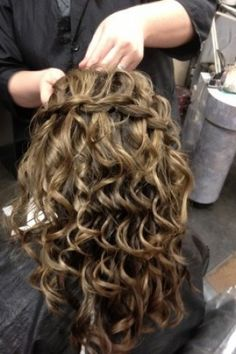 I love the waterfall braid with curls, it's really pretty!