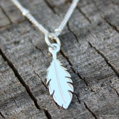 CUSTOM ORDER for M N: Feather Necklace - Sterling Silver Feather Pendant . Satellite Chain . Native American . Hand Stamped Gift Box. $40.00, via Etsy.