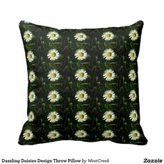 Dazzling Daisies Design Throw Pillow