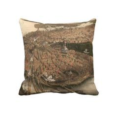 Vintage Pictorial Map of Boston (1877) Throw Pillows from Zazzle.com $62.40