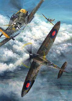 Spitfire Mk1 del 603 Escuadrón combatiendo con el Me 109E-4B de Erhardt Pankratz, Octubre de 1940. Cortesía de Lukasz Kasperczyk.