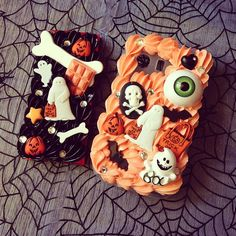 Another set of Halloween cases for Serene! Decoden Phone Case, Diy Phone Case, Cute Phone Cases, Iphone Cases, Cute Crafts, Diy And Crafts, Kawaii Diy, Cute Clay, Shops