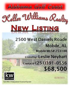2500 Daniels Road, Mobile, AL...MLS# 253188...$68,500...May Be Subject To Alabama Right Of Redemption Law. Brick 3/2 With One Car Attached Carport. Tile Flooring. Pool Is Not Warranted. Half Acre Lot. You Can See The Potential In This Home. Thanks So Much For Showing And Bidding. Please contact Leslie Anderson Neyhart at 251-391-0556.