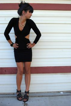 black cutout dress so cute for a night out