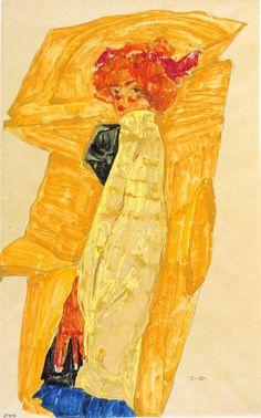 Egon Schiele, Gerti davanti ocra colorata.