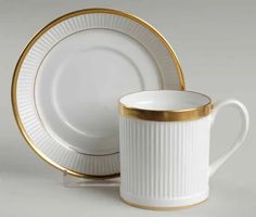 Golden Glory Flat Cup & Saucer Set by Crown Staffordshire | Replacements, Ltd.