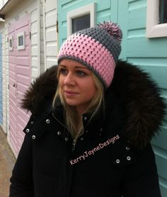 LADIES CROCHET HAT pink crochet hat grey by KerryJayneDesigns