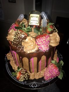 Hennessy Infused Chocolate Birthday Cake for my BFF 22nd birthday!