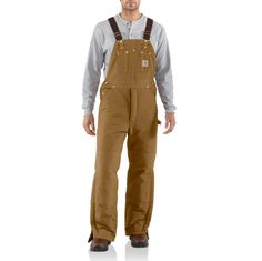 Carhartt's Men's duck bib overall is arctic quilt-lined to keep you warm on the job site. Made of 12-ounce, 100% cotton duck, it is lined with quilted, 100% arctic-weight nylon. It features a zipper f