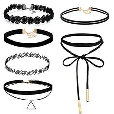 Réglable Black Lace Choker Collier Extender avec Gem Pendant Punk Rock