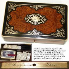 """Antique French Napoleon III Burled Game Box, """"Whist"""", MOP Game Chips from antiques-uncommon-treasure on Ruby Lane"""