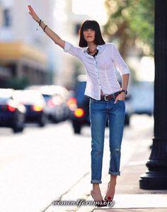 Журнал Grazia India модель Andressa Fontana белая рубашка + джинсы