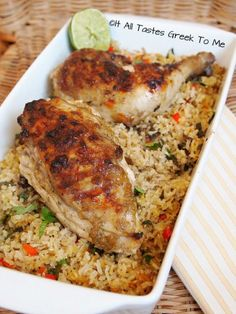 Juicy Chicken with an Amazing Glaze and Mint Rice