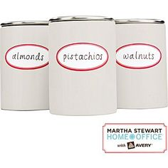 Kitchen Organization 101: Put nuts or other bagged foods in uniform containers then add a fun label for easy identification. #MarthaStewartHomeOffice #affordable #DIY #kitchenorganization