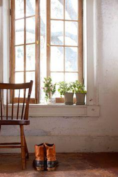 wood window with white trim