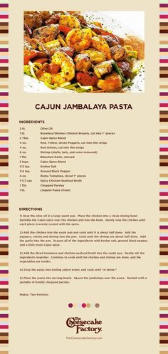 Cajun Jambalaya Pasta from the Cheesecake Factory - the real recipe!