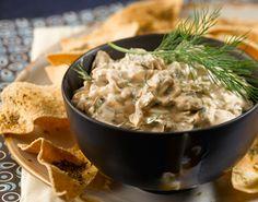 Oscar party menu: warm mushroom dip with baked pita crisps