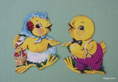 Vintage Cardboard Die Cut Easter Dennison Darling by EisforEthel, $10.00