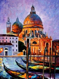 Night Venice - PALETTE KNIFE Oil Painting On Canvas By Leonid Afremov