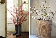 Jarní dekorace z proutí - gumáky a proutěné koše